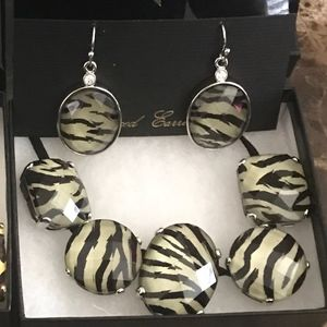 Park Lane Jewelry - Park Lane Zebra Necklace and Pierced Earrings